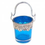 Blue Decorated Glass Bucket