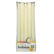 Pack of 10 Bolsius Taper Candles - Ivory