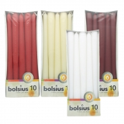Pack of 10 Bolsius Taper Candles - Red