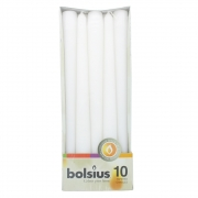 Pack of 10 Bolsius Taper Candles - White