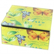 Vintage Design Small Box - Yellow with Butterfly and Flower Design