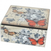 Vintage Design Small Box - Butterfly and Flower Design