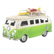 Wholesale Retro Small Shabby Chic Camper Van With Surfboard And Life Belt On Roof Rack - Green