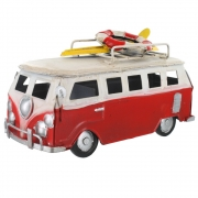 Wholesale Retro Small Shabby Chic Camper Van With Surfboard And Life Belt On Roof Rack - Red