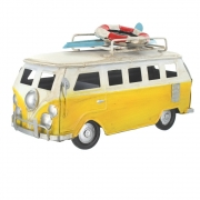 Wholesale Retro Small Shabby Chic Camper Van With Surfboard And Life Belt On Roof Rack - Yellow