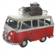 Wholesale Retro Shabby Chic Camper Van With Luggage On Roof Rack - Red