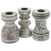 Mini Wooden Candlesticks With White Wash Finish- Set of 3