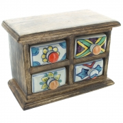 Wood And Ceramic Drawer Chest For Spices, Jewellery etc.