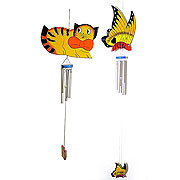 wooden cat and butterfly chimes
