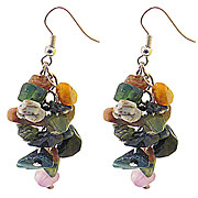 Wholesale Chip Earrings - Green Agate