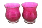 Crackle Glass Flared Top Tea Light Holders - Pair of Pink