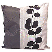 Wholesale Black Leaf Cushion Cover - Grey