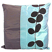Wholesale Black Leaf Cushion Cover - Turquoise