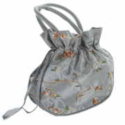 Embroidered Silver Grey Dolly Bag
