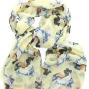 Woman's Face/Bird Scarf - Pale Yellow
