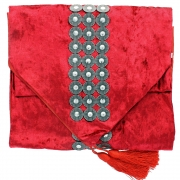 Silvery Disc Velvet Table Runner - Red