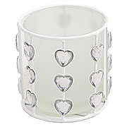 Wholesale Heart Jewel Frosted Tea Light Holder