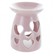 Heart cut-out oil burner in pink