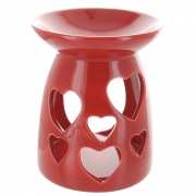 Heart cut-out oil burner in red