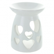 Heart cut-out oil burner in white