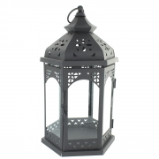 Wholesale Large Hex Clear Lantern - Black