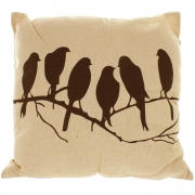 Natural Linen Look Cushion With Black Printed Design - Birds In A Row