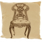 Natural Linen Look Cushion With Black Printed Design - Decorative Chair