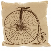 Natural Linen Look Cushion With Black Printed Design - Penny Farthing