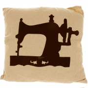 Natural Linen Look Cushion With Black Printed Design - Sewing Machine