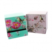 Wholesale Mirrored Glass 3 Drawer Box with Birds and Flowers