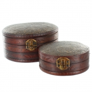 Floral Round Wooden Boxes - Set of 2