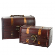 Wooden Treasure Chests With Metal Bands - Set of 2