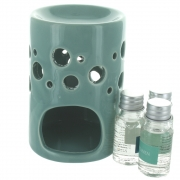 Sea Shore Oil Burner Set With 3 Fragrance Oils - Turquoise