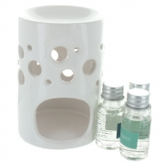 Sea Shore Oil Burner Set With 3 Fragrance Oils - White