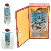 Wholesale Chinese Prism Shaped Inside-Painted Glass Snuff Bottle - Blue, Black And White Design