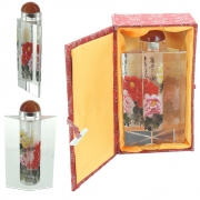 Wholesale Chinese Prism Shaped Inside-Painted Glass Snuff Bottle - Yellow, Red And Pink Flowers