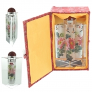 Wholesale Chinese Prism Shaped Inside-Painted Glass Snuff Bottle - Pink And Red Flowers