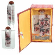 Wholesale Chinese Prism Shaped Inside-Painted Glass Snuff Bottle - Red, Black And White Design