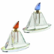 Wholesale Clear Glass Boat Shaped Perfume Bottle With Coloured Glass Top