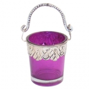 Purple Decorated Glass Bucket