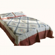 Wholesale  rusty red and navy blue quilted throw