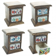 Wood And Ceramic Chest - 2 Rectangular Drawers