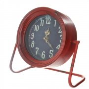 Red, Shabby Chic Battery Operated Shelf Clock, With Distressed Finish