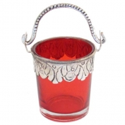 Red Decorated Glass Bucket