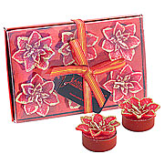 Wholesale Red Poinsettia Tea Light Candles (Set 6)