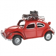 Wholesale Retro VW Style Beetle With Luggage On Roof Rack - Red
