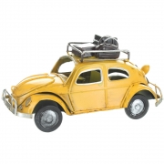 Wholesale Retro VW Style Beetle With Luggage On Roof Rack - Yellow