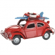 Wholesale Retro VW Style Beetle With Surfboard And Life Belt On Roof Rack - Red