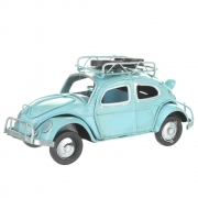 Wholesale Retro VW Style Beetle With Spare Wheels On Roof Rack - Blue