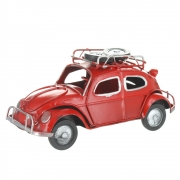 Wholesale Retro VW Style Beetle With Spare Wheels On Roof Rack - Red